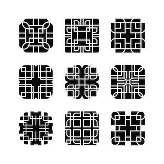 Zestaw elementów abstrakcyjnego kształtu