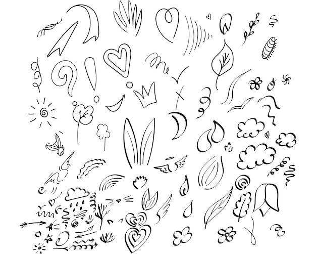 Zestaw elementów abstrakcyjnych wektor ręcznie rysujący element doodle