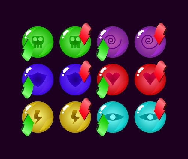 Zestaw elementów aktywów ui w zaokrąglonych kolorach galaretki gui