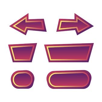 Zestaw elementów aktywów ui zabawnej gry z fioletowym przyciskiem