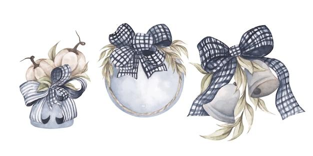 Zestaw elementów akwarela biała dynia w wazonie ramka z liśćmi dzwony vintage ilustracji