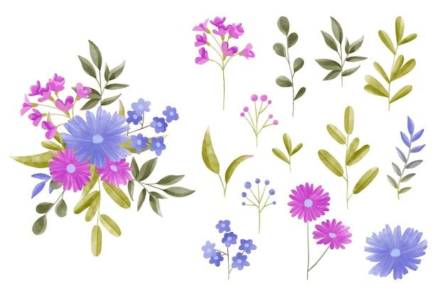 Zestaw elementów akwarela kwiatowy