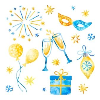 Zestaw elementów akwarela nowy rok