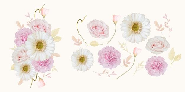 Zestaw elementów akwareli różowej róży i białego kwiatu gerbery