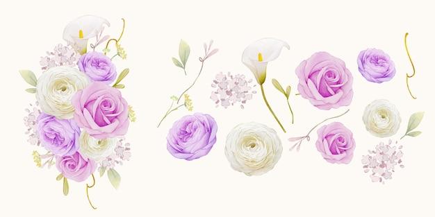Zestaw elementów akwareli z fioletowej róży lilii i kwiatu jaskier