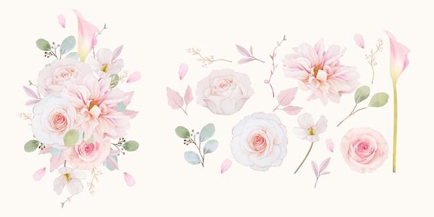 Zestaw elementów akwareli z różowych róż dalii i kwiatu lilii