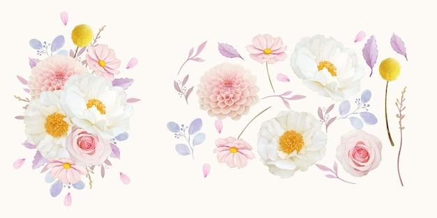 Zestaw elementów akwareli z różowych róż dalii i kwiatu piwonii