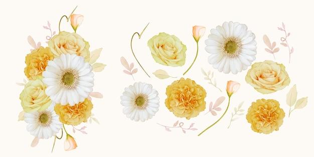 Zestaw elementów akwareli żółtej róży i białego kwiatu gerbery
