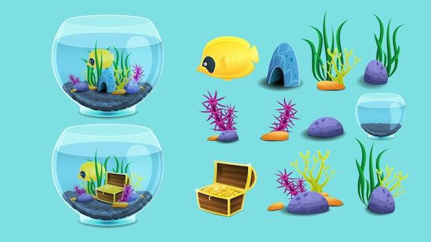 Zestaw elementów akwarium.