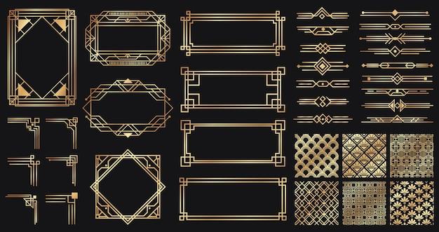 Zestaw elementów art deco. kreatywne złote obramowania i ramki. przegrody i nagłówki dla luksusowego lub premium designu. stare antyczne eleganckie elementy na ciemnym tle. dekoracja na ilustracji wektorowych kart