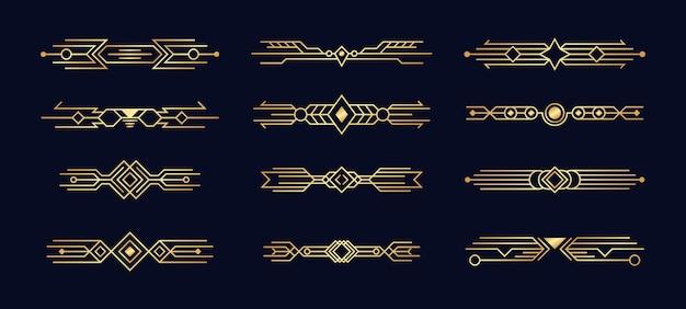 Zestaw Elementów Art Deco. Premium Wektorów