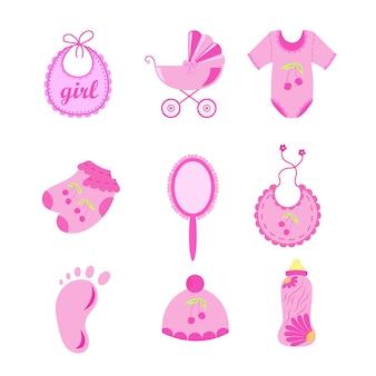 Zestaw elementów baby shower na białym tle. ilustracja wektorowa.