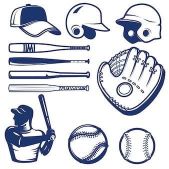 Zestaw elementów baseballowych. beaty baseballowe, piłki, rękawiczki, czapki. elementy logo, etykiety, godło, znak. ilustracja