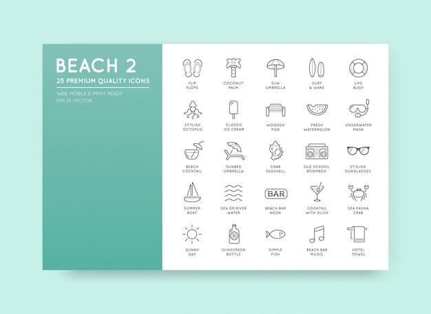 Zestaw elementów beach sea bar i summer może być używany jako logo lub ikona w najwyższej jakości