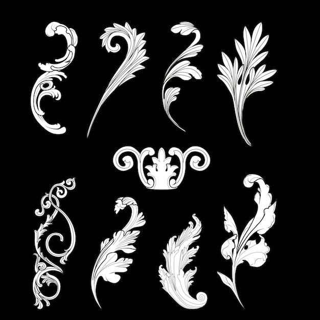 Zestaw elementów biały barokowy wektor