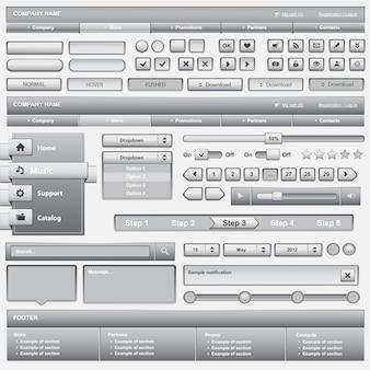 Zestaw elementów biały web design. ilustracja