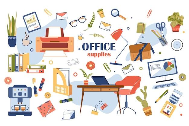 Zestaw elementów biurowych na białym tle