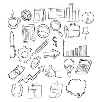 Zestaw elementów biznesowych za pomocą rysunku ręcznego lub doodle