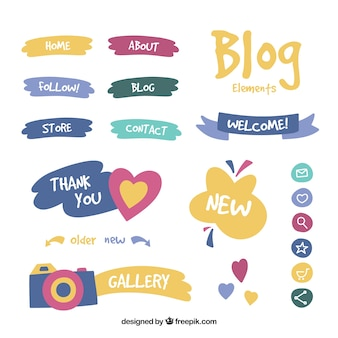 Zestaw elementów blogu