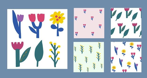 Zestaw elementów botanicznych w stylu skandynawskim do projektowania