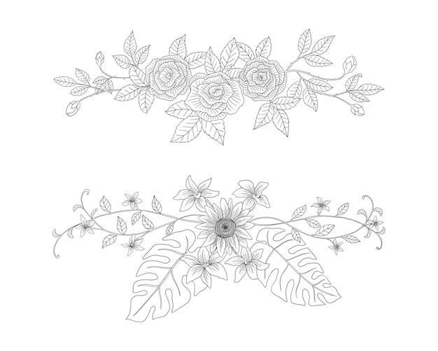 Zestaw elementów botanicznych wyciągnąć rękę ozdobnych