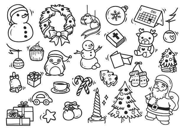 Zestaw elementów bożego narodzenia doodle