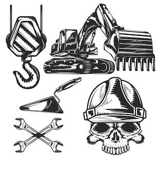 Zestaw elementów budowlanych do tworzenia własnych odznak, logo, etykiet, plakatów itp.