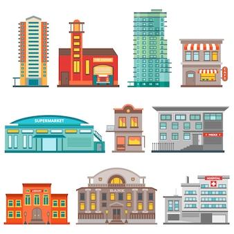 Zestaw elementów budynków miasta