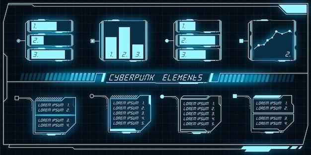 Zestaw elementów ciberpunka