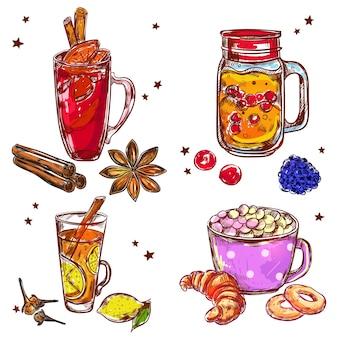 Zestaw elementów ciepłych napojów