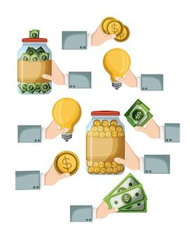 Zestaw elementów crowdfundingowych