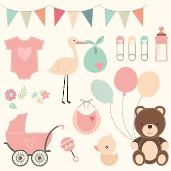 Zestaw elementów cute baby shower