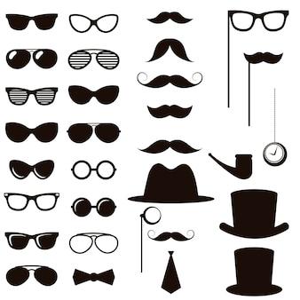 Zestaw elementów czarny retro dżentelmen