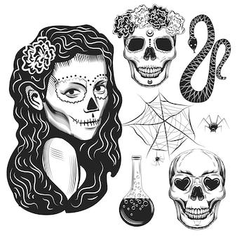 Zestaw elementów czarownicy: wąż, eliksir, pajęczyna i czaszki na białym tle.