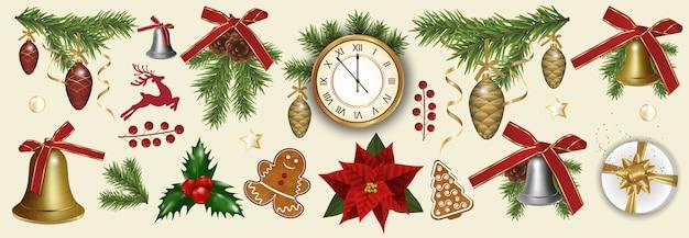Zestaw elementów dekoracji bożego narodzenia i nowego roku na białym tle.