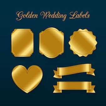 Zestaw elementów dekoracji etykiety ślub