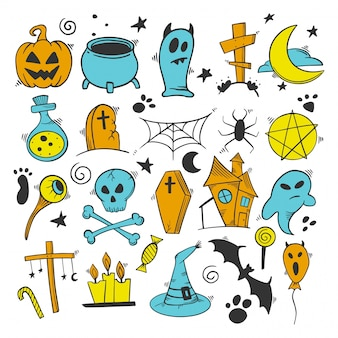 Zestaw elementów dekoracji halloween. dynia i kocioł