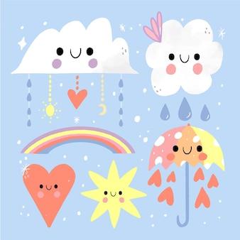 Zestaw elementów dekoracji ręcznie rysowane chuva de amor