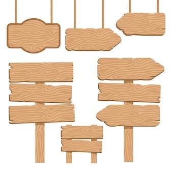 Zestaw elementów dekoracyjnych drewnianych drogowskazów