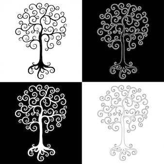 Zestaw elementów dekoracyjnych drzew czarno-białych.