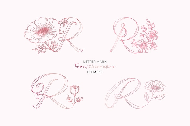 Zestaw elementów dekoracyjnych logo litery r.