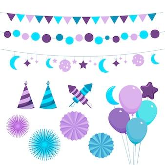 Zestaw elementów dekoracyjnych na urodziny