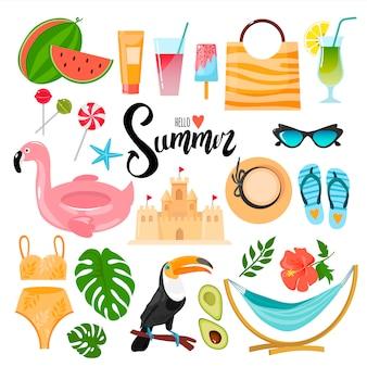 Zestaw elementów dekoracyjnych o tematyce letniej. nadaje się do tworzenia naklejek, pocztówek, broszur i nie tylko.