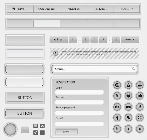 Zestaw elementów do projektowania stron internetowych. biały