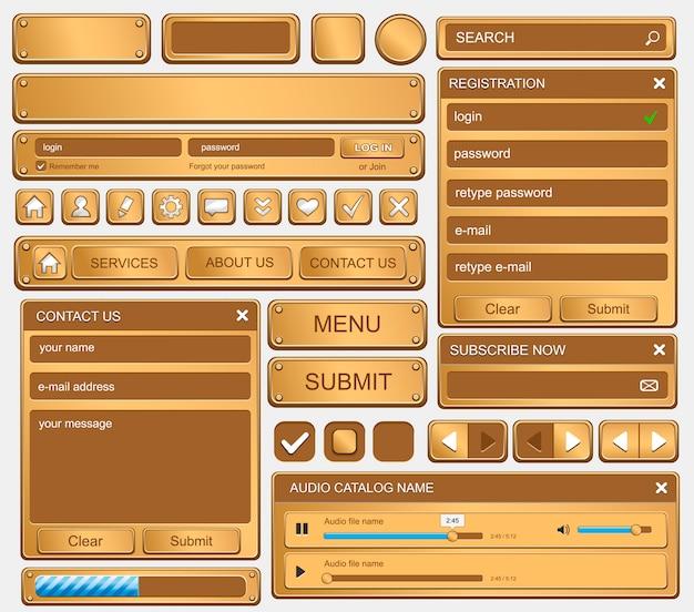 Zestaw elementów do projektowania stron internetowych. złoto