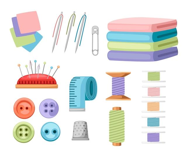 Zestaw elementów do szycia. kolekcja wyposażenia krawieckiego. ikony robótek ręcznych - igła, guzik, taśma miernicza, nić i inne. płaska ilustracja
