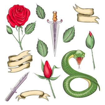 Zestaw elementów do tatuaży, nadruki w stylu oldschoolowym