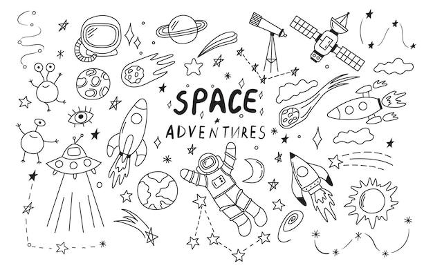 Zestaw elementów doodle czarnego kosmosu, takich jak rakieta astronauta gwiazdy asteroidy ufo