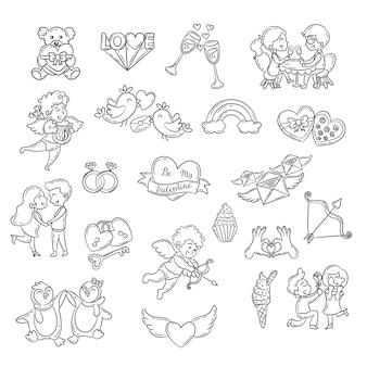 Zestaw elementów doodle ładny walentynki