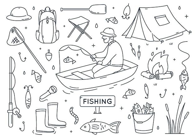 Zestaw elementów doodle wędkarskiego